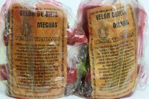 JGO DE 2 VELONES 7 MECHAS TUMBA TRABAJOS Rojos velon candles proteccion amor!!!