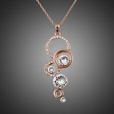 Rose Gold Plated Sparkly Round White Zircon Rhinestones Chain Necklace Pendant
