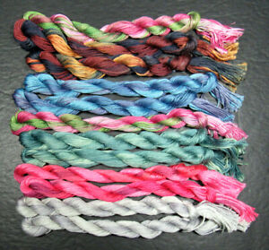 12x Needlepoint/Embroidery THREAD Hand-dyed Cotton Floss-mixed-TX185