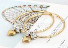 Stainless Steel Big Circle Hoop Earrings Women Rhinestone Heart Dangle Gold Tone