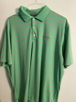 PETER MILLAR Summer Comfort Men's XL Green & Pink Striped S/S Polo Golf Shirt