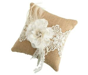 Wedding Ring Pillow Cushion Bearer Burlap Hessian Lace Rustic Country Ceremony