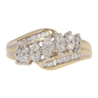 .33ctw Round Brilliant & Baguette Cut Diamond Ring - 10k Gold Tiered Bypass