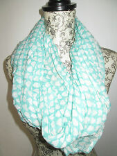 RIVER ISLAND - GREEN WITH WHITE HEARTS SUMMER SCARF 100% COTTON