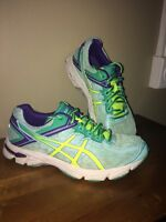 Asics Girl's Size 4.5 GT-1000 2 GS Running Shoes, ,  Green and yellow
