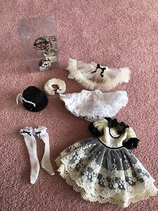 1/4 BJD MSD Code Noir Steampunk Outfit - Dress, stockings, hat, shawl