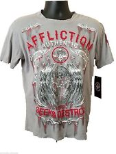 Affliction Authentic Mens Seek and Destroy 1973 Distressed Gray/Red S/S Top Sm