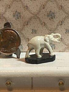 Vintage Artisan Dollhouse Pewter Painted Elephant Statue Miniature 1:12