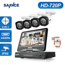 """SANNCE 10.1""""  LCD Monitor 1080N 4CH DVR 720P Video Outdoor Security Camera kit"""