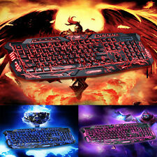 3 Colors Crack Illuminated LED Backlight USB Multimedia Wird PC Gaming keyboard