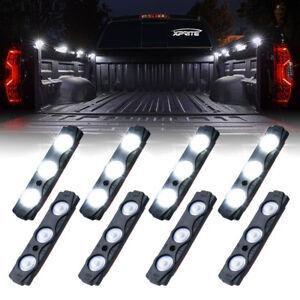 Xprite 8 Pods White LED Rock Lights Kit Car Truck Bed Lighting Neon Light Strips