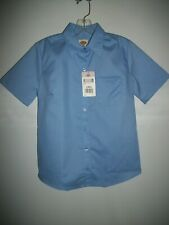 NWT DICKIE'S WOMEN'S LIGHT BLUE STRETCH POPLIN BUTTON FRONT TAILORED SHIRT SZ XS
