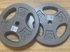 "BRAND NEW CAP 25 lb Grey Standard Grip Plates - Barbell Weight (2 Plates) 1"""