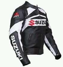 SUZUKI Rgsx BLACK MOTORBIKE LEATHER JACKET - CE APPROVED FULL PROTECTION