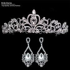 Tiara and Big Tears Drop Earrings Hair Crown Wedding Sets Bride Hair Accessories