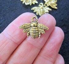 Lot de 10 gold tone honey bee métal pendentif charm 21mm x 16mm