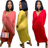 Women long sleeves zipper solid color casual club party loose midi dress