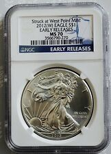 2012 W American Eagle 1 Oz Silver Dollar MS 70 Early Releases West Point Mint