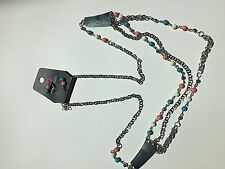 Paparazzi Necklace & Earring Set (new) pink/white/blue beads and silver