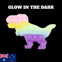 Pop Its Bubble Fidget GLOW IN THE DARK Rainbow Dinosaur Push Toy Bubble Stress