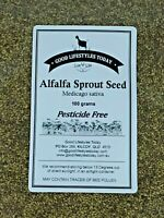 Alfalfa 'Pesticide Free' Seeds 100g - Sprouting seeds, Resealable Stand Up Pouch