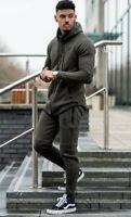 Gym King Mens New Designer Performance Curved Hem Burnt Olive Full Tracksuit Set