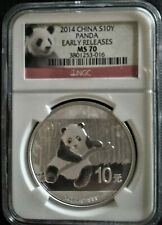2014 CHINA 10 YUAN PANDA 1 OZ SILVER COIN NGC MS 70 GEM Perfect Early Releases