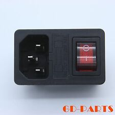IEC320 AC Power receptacle mains socket with Fuse holder Rocker Switch Lot*10