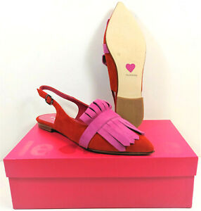 LE BABE ~ Slingback Velour Rosso #1123 Riemchenschuh Sling Pumps rot Gr. 37  NEU