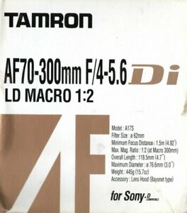 Tamron  AF70 - 300mm f4-5.6 Di LD MACRO 1: 2  Model A17S For SONY - D compatible