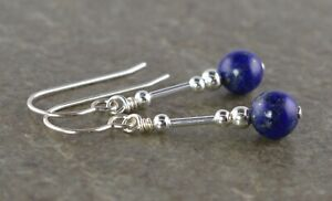 Small Blue Lapis Lazuli & Sterling Silver Drop Earrings + Gift Box
