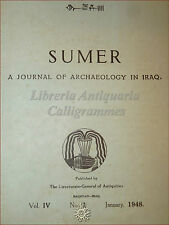 SUMER Journal of Archaeology in IRAQ 1948 Vol. IV n. 1 Sumeri RARO Sumerica