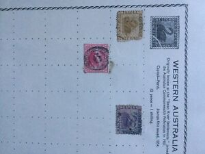 Western Australia Swan stamps X3 Ocre penny, red penny and violet six pence