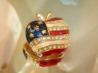 Patriotic Apple Red White Blue Enamel Rhinestone Vintage 80's Nice Brooch 122s7
