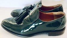 Paloma Barcelo Women's Green Patent Leather Loafer Trim Tassel Shoes Sz 40/9 EUC