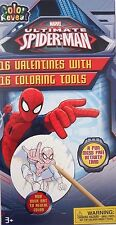 Spiderman Lot Of 16 Kids Valentines Day Cards With Coloring - Classroom Trade