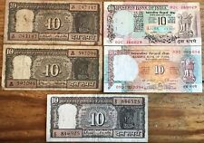 World Paper Money Reserve Bank of India Lot (5) 10 Rupees Banknotes