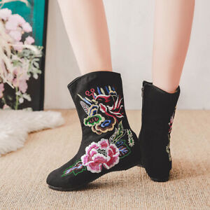 Women's Ethnic Style Embroider Zipper Round Toe Mid-Calf Boots Fashion Flat New