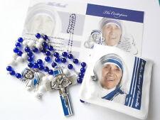 Ghirelli St Mother Teresa of Calcutta Rosary Beads White & Blue Glass Catholic