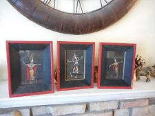 3 Vintage Acrylic Miniature Paintings of Japanese Dancing Ladies Signed Yamanoi