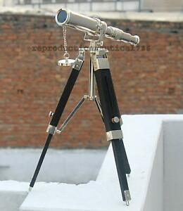 Brass Telescope 10 Inch With Wooden Tripod Stand Chrome Collectible Desk Decor
