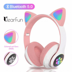 Flash Light Wireless Cat Ear Headphones Bluetooth Headset LED Kids Girl Earphone