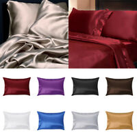 US Stock Solid Silk Pillow Case Cushion Cover Pillowcase Standard Queen Size qlb