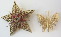Brooch Pin Vintage Lot MONET Butterfly signed + Star Ruby Rhinestone set 2