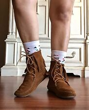 Minnetonka Brown Leather Ankle High Top Fringe Booties Moccasins