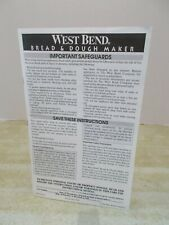 West Bend Bread & Dough Maker Instruction Manual + Recipes - English/Spanish