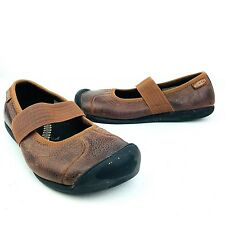 KEEN Womens Leather Mary Jane Flats Shoes Rust Brown MJs Slide On Comfort Strap