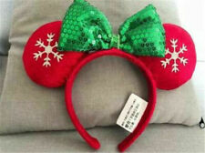 New Disney Parks Holiday Christmas Red and Green Snowflake Minnie Ears Headband