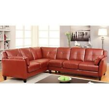 Red Sectional Sofa Faux Leather Mahogany Red Large Roomy Couch SHIPS FREE! New