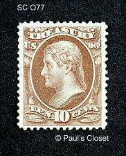 US TREASURY OFFICIAL STAMP SC O77 10¢ T. JEFFERSON 1873 MINT NO GUM F/VF